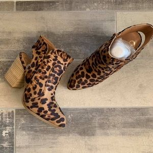 Shoes - Leopard Heeled Booties
